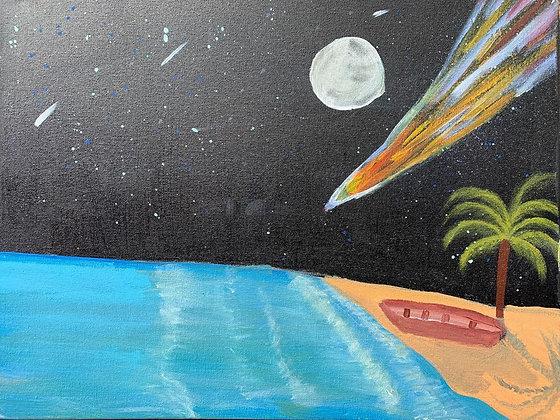 """Tela """"Lua cheia na barra de Caraíva"""""""