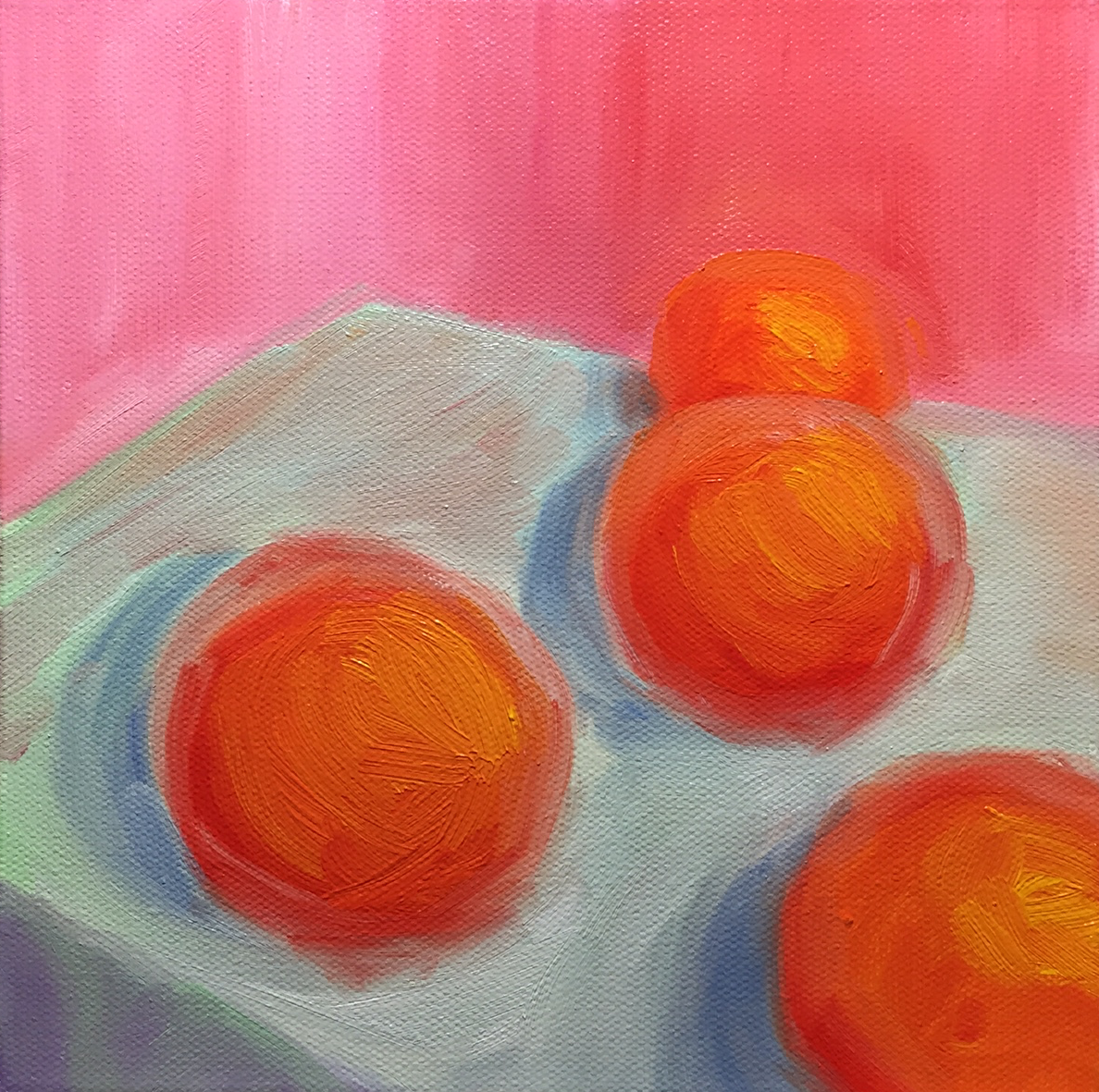 Fresh Oranges on Cotton Tablecloth in Pink Room