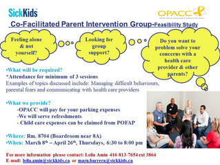OPACC and Sick Kids Co-Facilitated Parent Intervention Group - Spring 2012