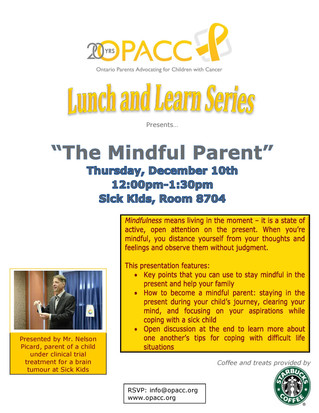 """Upcoming event: OPACC's """"Lunch and Learn"""" series presents: The Mindful Parent"""