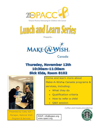 """Upcoming Event: OPACC's """"Lunch and Learn"""" series presents: Make-A-Wish Canada"""