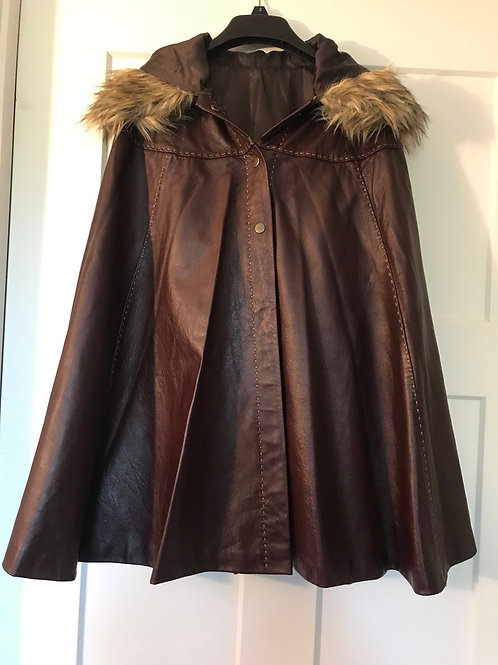 Premium Goat Leather Hand-Stiched Poncho with Faux-Fur Trim Hood Brown