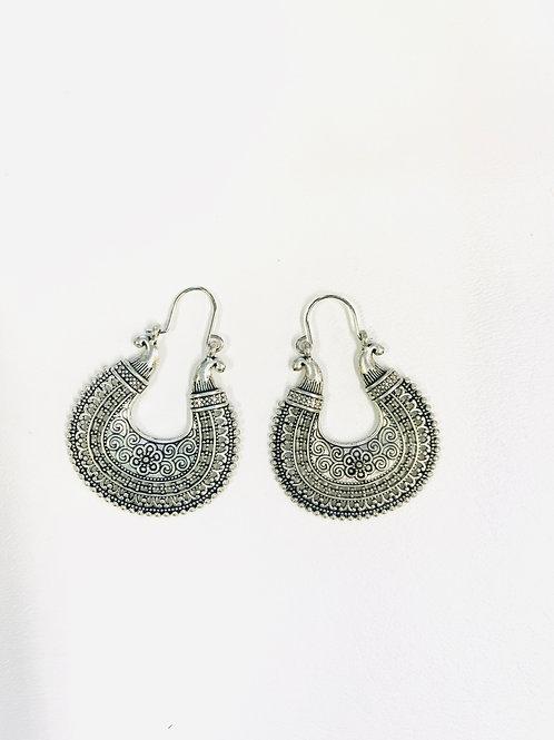 German Silver Antique Chandbali Earrings