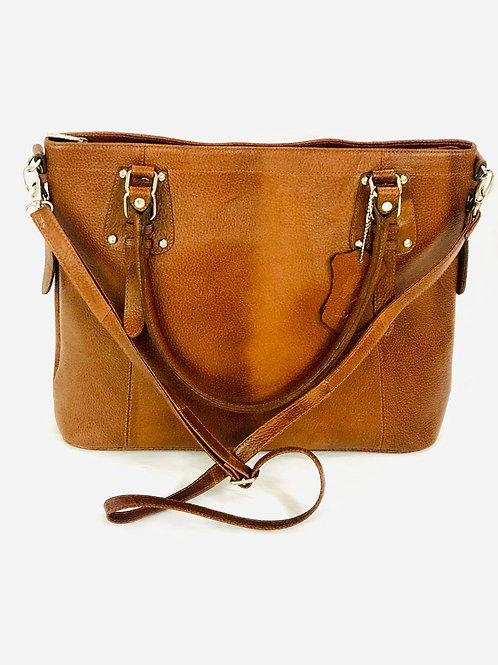 Polished Pebble Brown Leather big Satchel