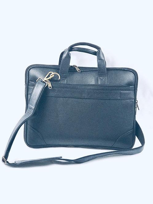 Camel Black Leather Laptop bag