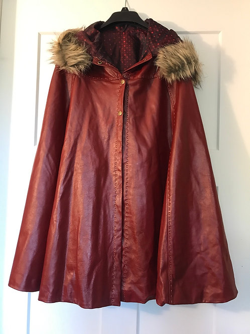 Premium soft Leather Cape with Faux-Fur Trim hood Red