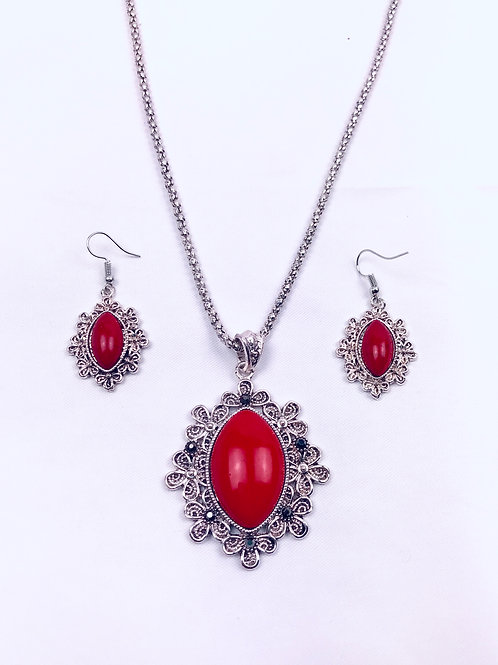Antique Oxidized German Silver Chain Red Sun Pendant Necklace with Earrings