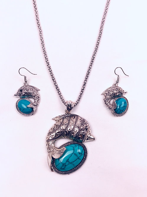 Antique Oxidized German Silver Chain Turquoise Fish Pendant Necklace & Earrings