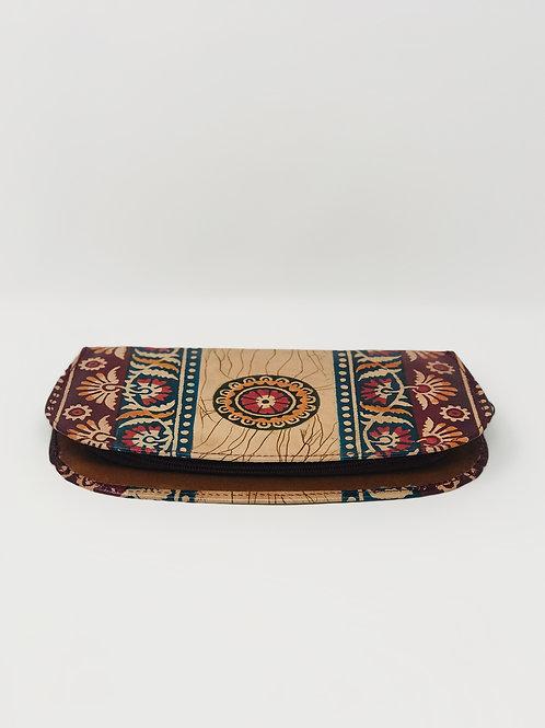 Hand painted Leather Indian Shantiniketan Wallet Vintage Red Black