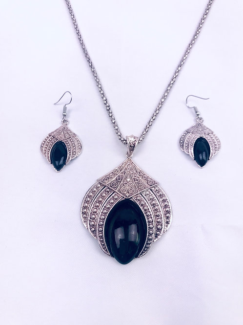 Antique Oxidized German Silver Chain Black Lotus Pendant Necklace with Earrings
