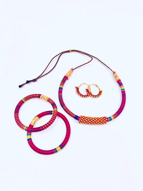 Handmade Silk Thread Necklace With two Bracelet Bangles & Earrings