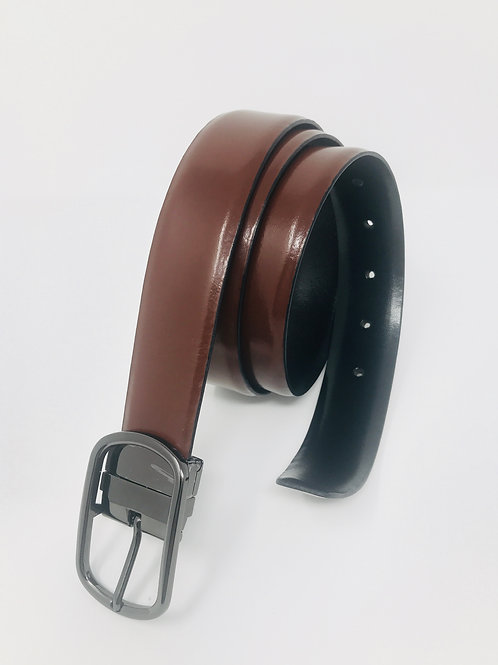 Men's Italian Leather Reversible dress Belt Black & Brown -03