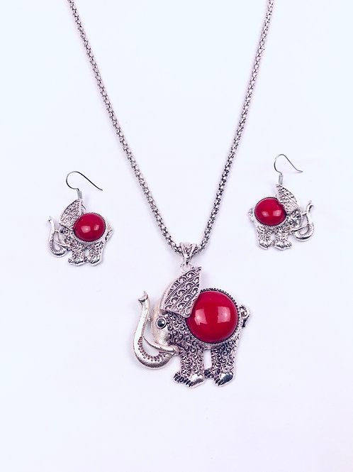 Antique Oxidized German Silver Chain Red Elephant Pendant Necklace with Earrings
