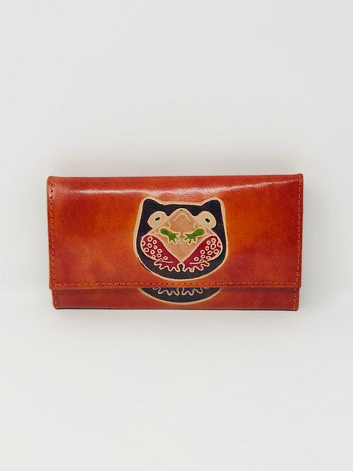 Hand painted Leather Indian Shantiniketan Wallet Bird