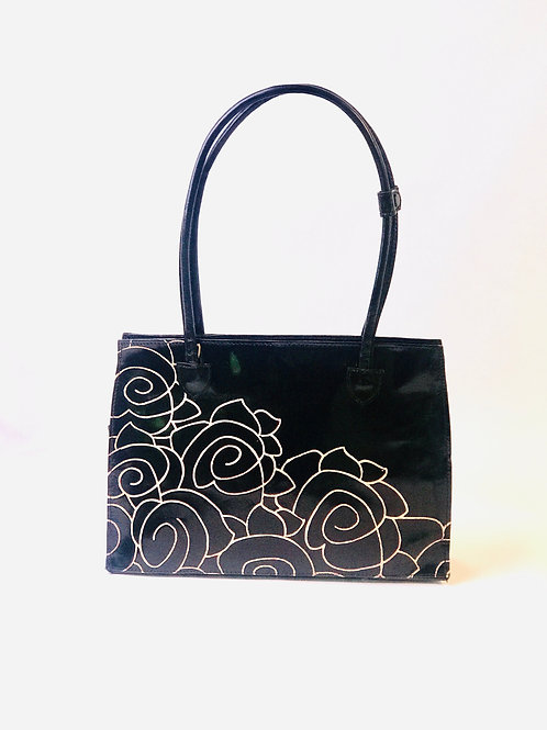 Hand-Painted Black Leather Tote removable bottom