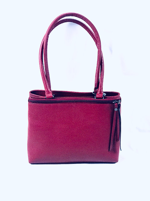 Polished Pebble Red Leather Tote
