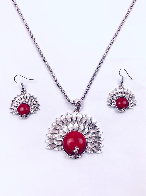 Antique Oxidized German Silver Chain Red Peacock Pendant Necklace & Earrings