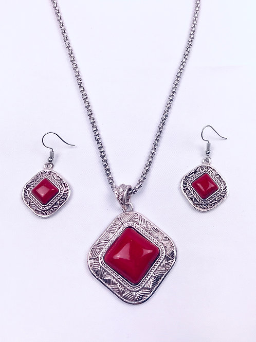 Antique Oxidized German Silver Chain Red Pendant Necklace With Earrings