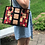 Thumbnail: Hand-Painted Black & Red Leather, Tote Frank Lioyd Wright design