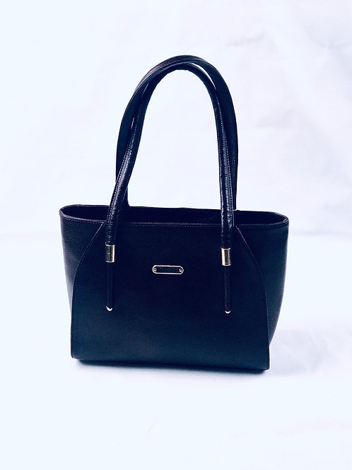 Polished pebble Black Leather Tote