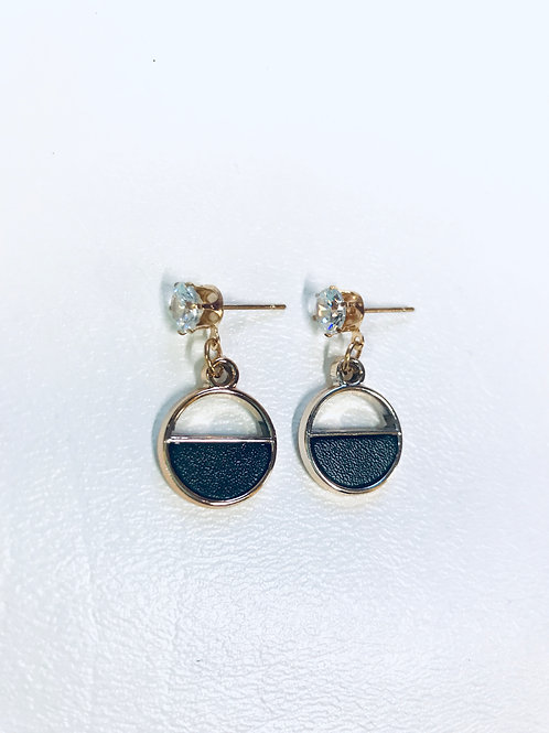 Enamel Crystal Stone Black plated stud Earrings