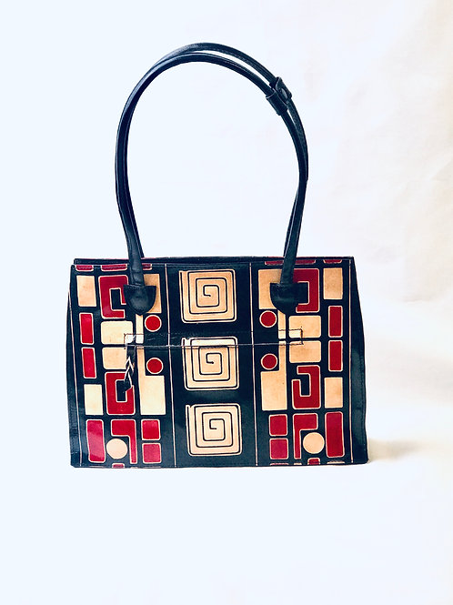 Hand-Painted Leather Tote Frank Lioyd Wright design removable bottom