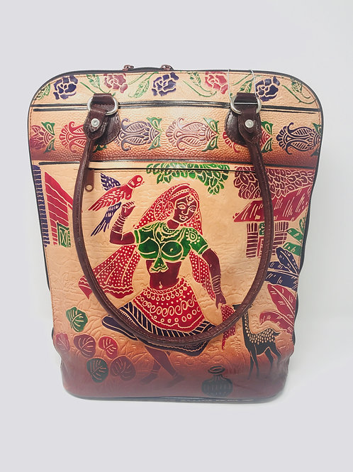 Hand painted Leather Indian Shantiniketan casual weekender bag Vintage dancing