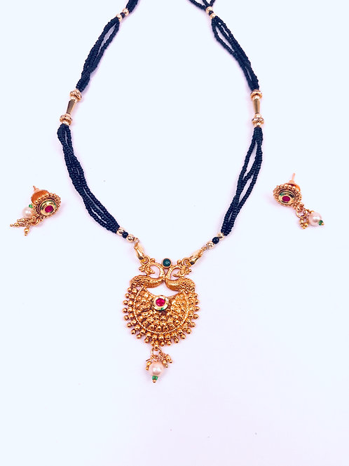 Traditional Gold Plated Mangalsutra Necklace With Earrings