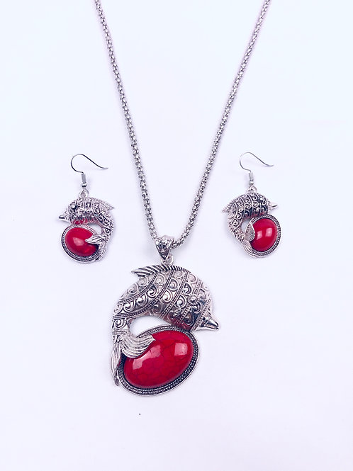 Antique Oxidized German Silver Chain Red Fish Pendant Necklace And Earrings