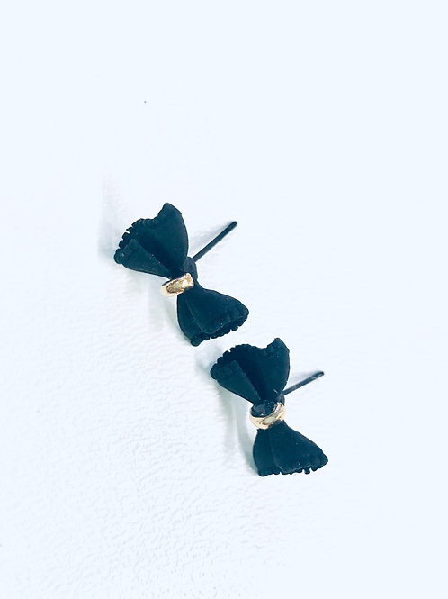 Black Metal Wax Coated Bow Stud Earrings