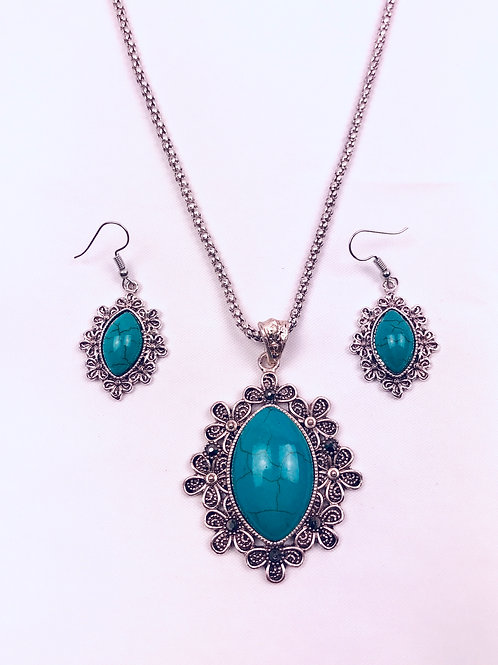 Antique Oxidized German Silver Chain Turquoise Sun Pendant Necklace with Earring