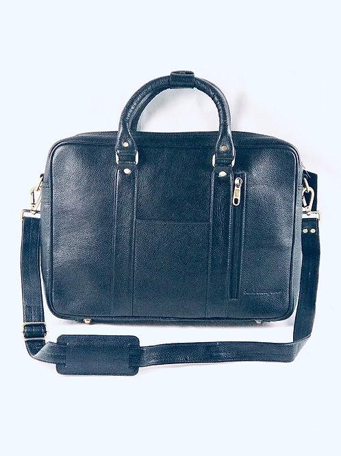 Black Pebble Leather Laptop Briefcase