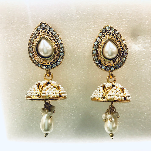 Austrian Stone Antique Jhumki Earrings