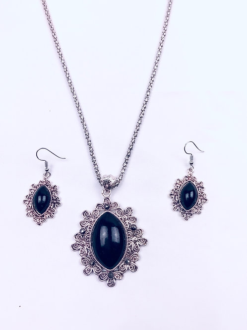 Antique Oxidized German Silver Chain Black Sun Pendant Necklace with Earrings