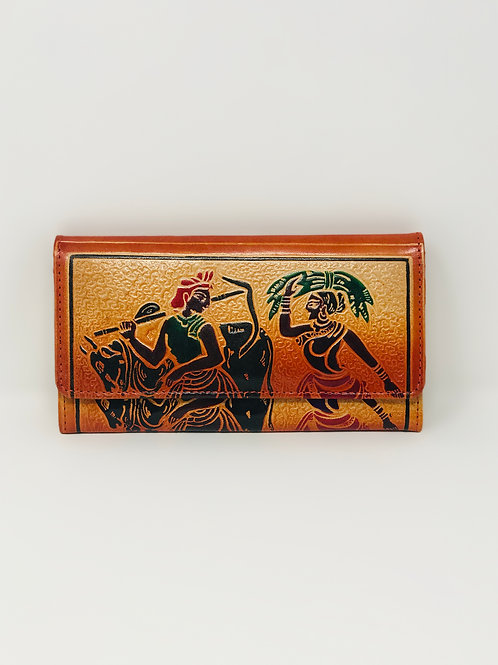 Hand painted Leather Indian Shantiniketan Vintage Wallet Woman in Love