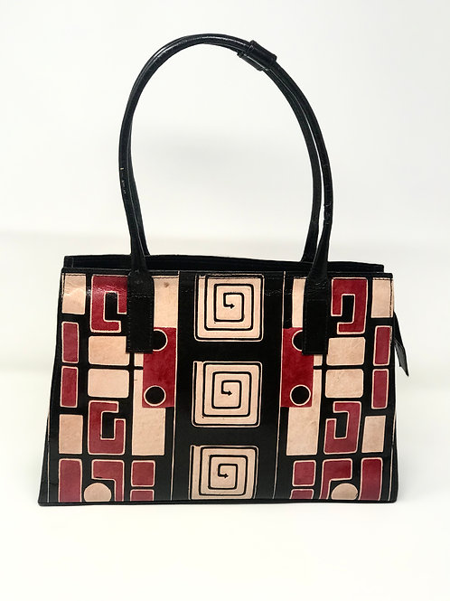 Hand-Painted Black & Red Leather, Tote Frank Lioyd Wright design