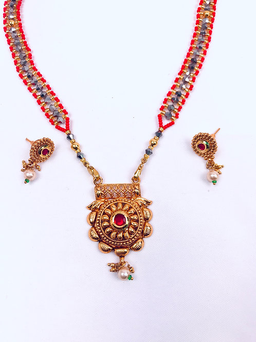 Traditional Gold Plated Pendant Mangalsutra Necklace With Earrings