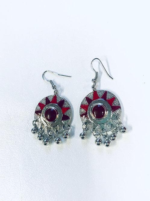 Rhodium plated Multi Meenakari Afghan Earrings