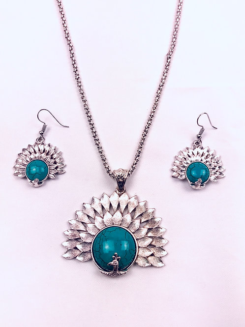 Antique Oxidized Silver Chain Blue Peacock Pendant Necklace & Earring