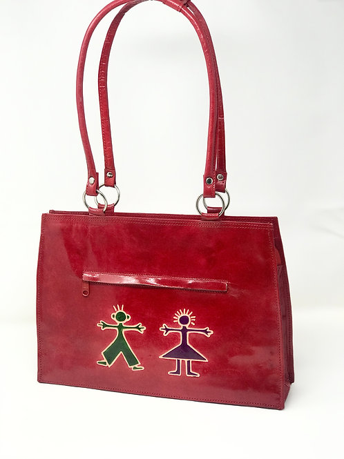 Hand-Painted Black & Red Leather Tote removable Bottom