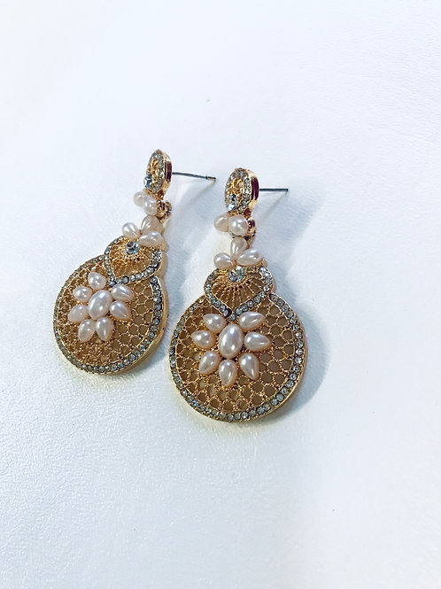 Gold Plated Alloy Pearl and AD Stone Setting Earrings