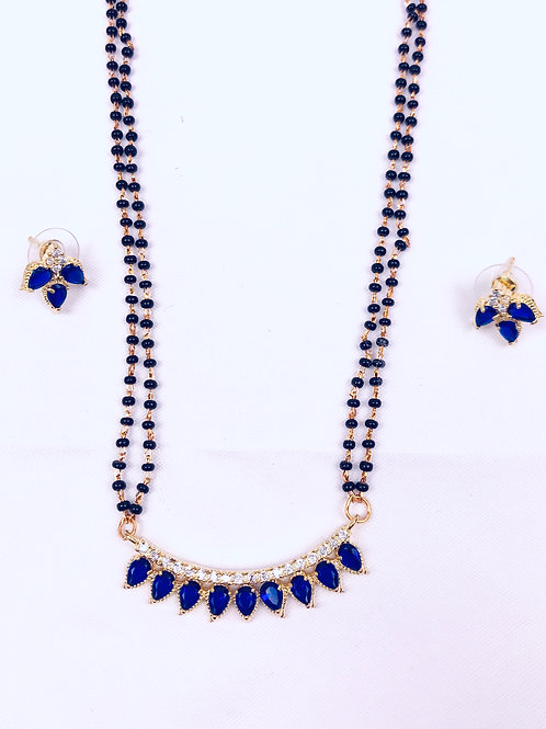 copyBlue Stone Mangalsutra Necklace With Earrings