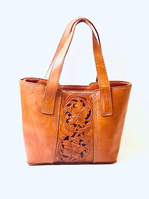 Hand-Stitched & Handmade Etched Leather Tote