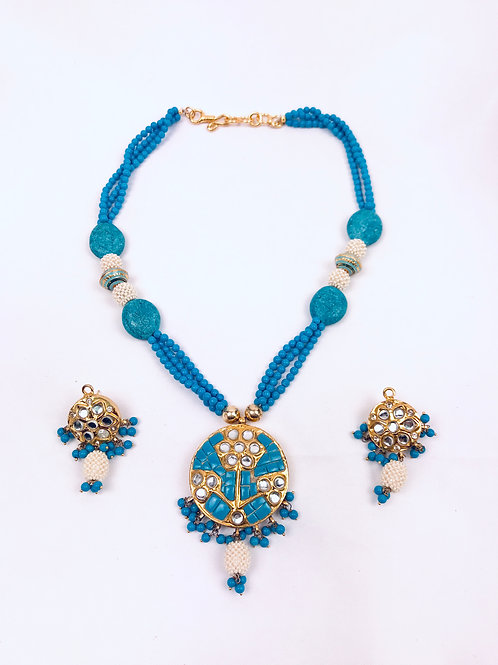 Traditional Turquoise Takkar Necklace with Meenakari Beads With Earrings
