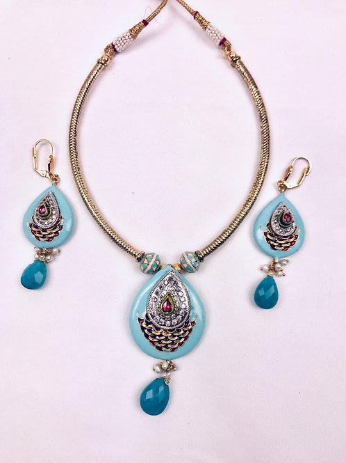 Turquoise Meenakari Hasli Set Necklace With Earrings