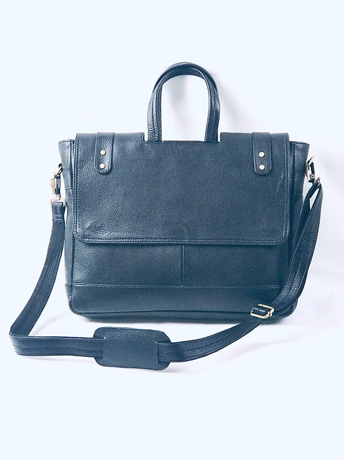 Black Pebble Leather Laptop Bag