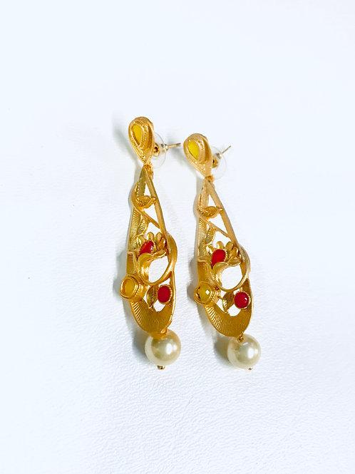 Gold plated Pink Austrian Stone Dangler Earrings