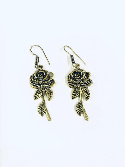 German Siver Rose Flower Earrings