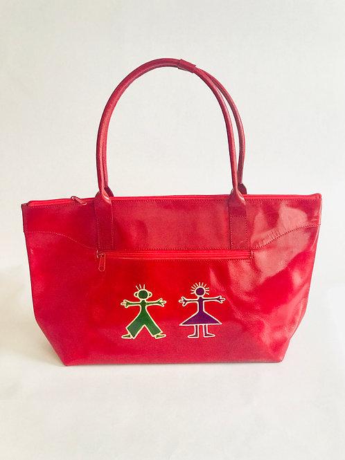 Hand painted Leather Indian Shantiniketan casual weekender bag Red