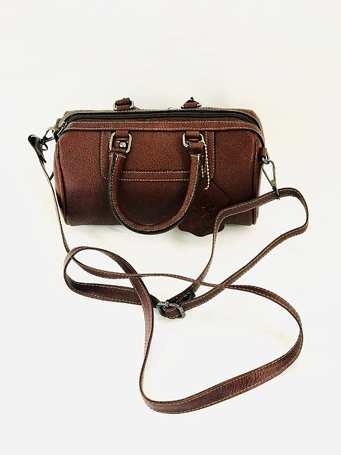 Polished Pebble Leather Small Satchel Crossbody Bag